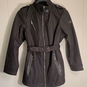 Michael Kors Houndstooth Faux Leather Trim Coat